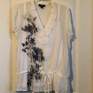 💜Pretty AGB White Ruffle Classy Blouse. XL